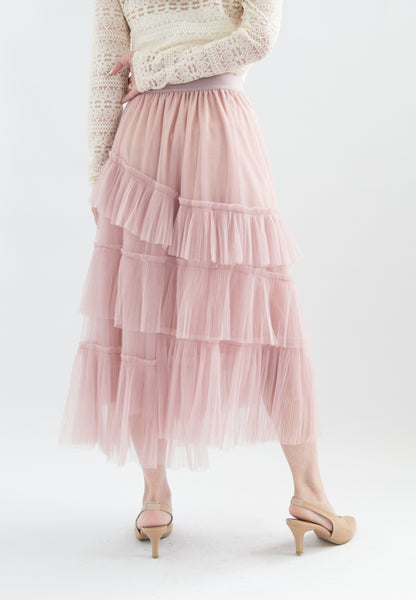Amabel Layered Pleats Tulle Skirt (Pink)
