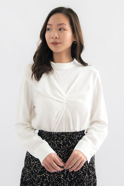 Piper High Neck Long Sleeve Top (White)