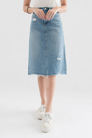 Kimberly Midi Ripped Denim Skirt (Blue)
