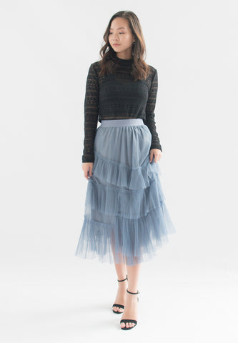 Amabel Layered Pleats Tulle Skirt (Blue)