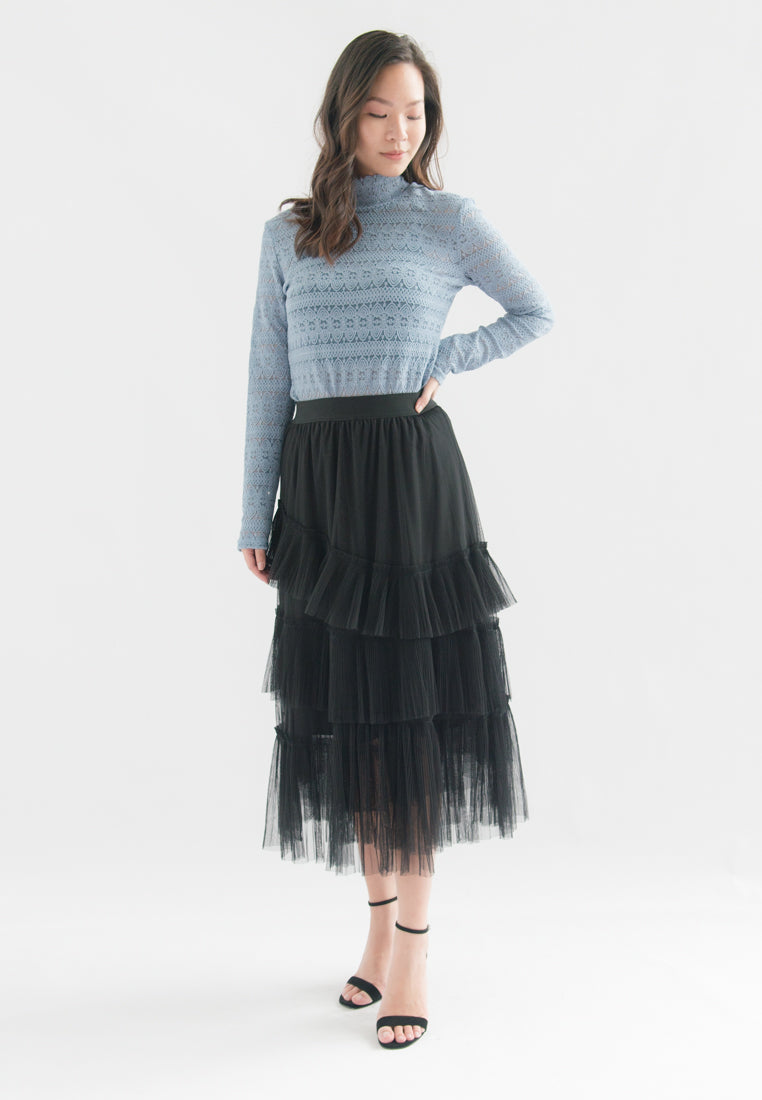 Amabel Layered Pleats Tulle Skirt (Black)