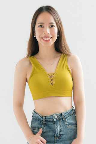 Maia Lace Up Tie Front Bralette (Yellow)