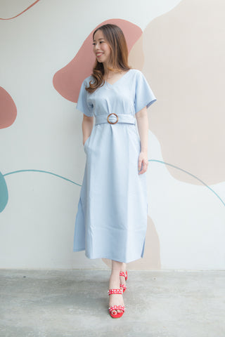 Wilhelmina Midi Dress With Buckle Sash (Blue)