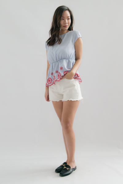Omia Striped Eyelet Lace Top (Blue)