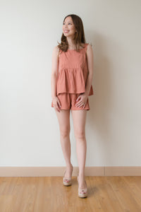 Iris Babydoll Sleeveless Tank Top & Ira Flare Shorts [Set Wear] (Rusty Orange)