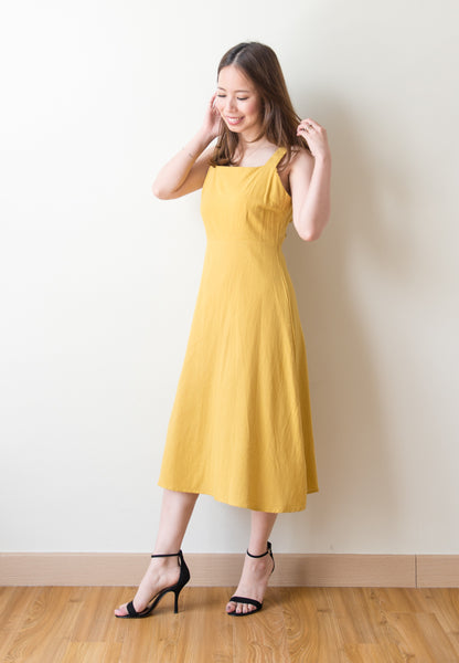 Elexis Self Tie Back Ribbon Dress (Yellow)