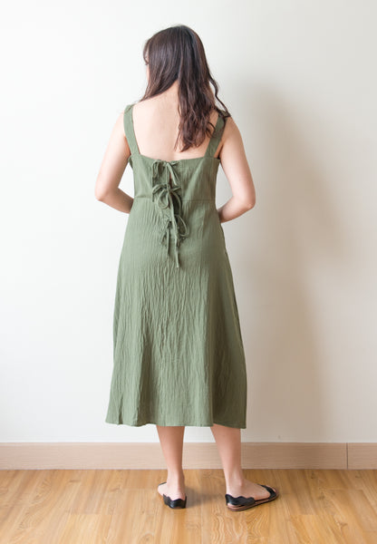 Elexis Self Tie Back Ribbon Dress (Green)