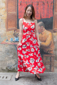 Levina Floral Spaghetti Maxi Dress (Red)
