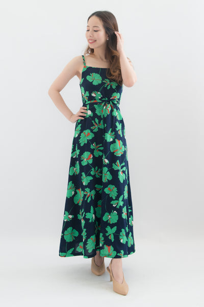 Levina Floral Spaghetti Maxi Dress (Navy)