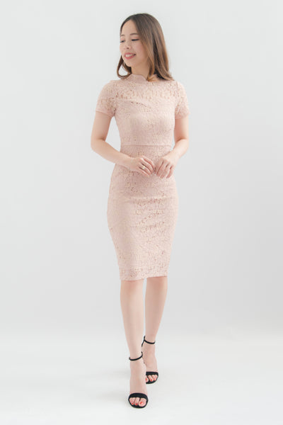 Ruyi Lace Mandarin Collar Dress (Pink)