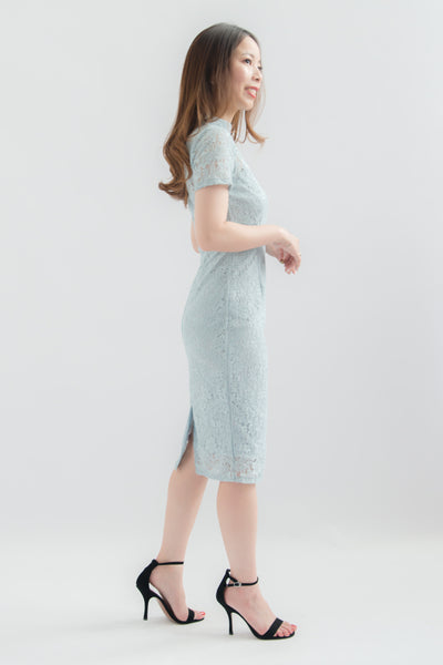 Ruyi Lace Mandarin Collar Dress (Blue)
