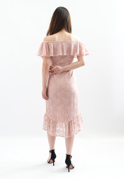 Lauren Off Shoulder Lace Dress (Pink)