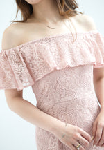 Load image into Gallery viewer, Lauren Off Shoulder Lace Dress (Pink)