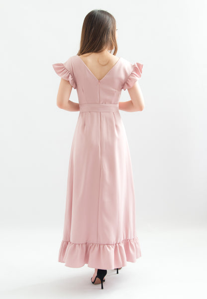 Josefina V-neck Ruffle Maxi Dress (Pink)