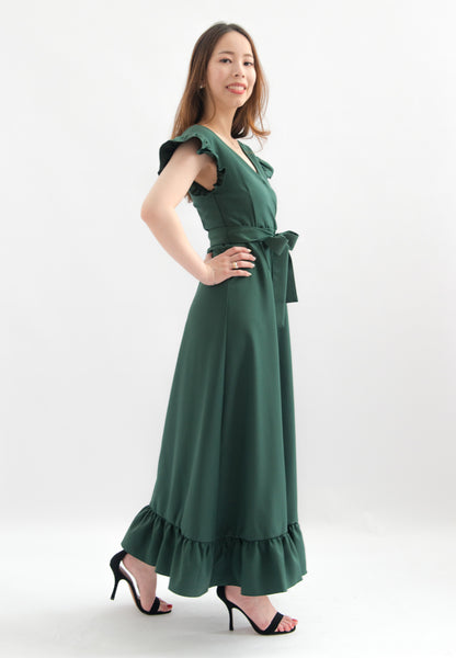 Josefina V-neck Ruffle Maxi Dress (Green)