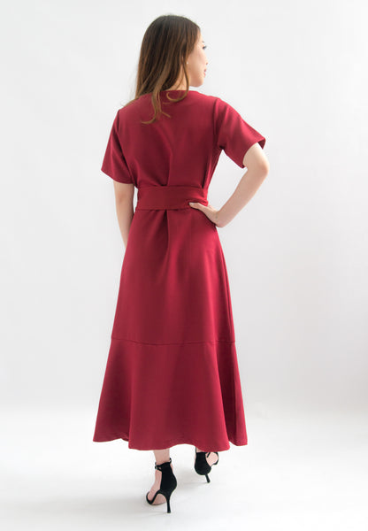 Shanice Button Down Ruffle Hem Dress (Red)