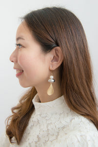 Bailee - Silver Gold Pearl Earrings