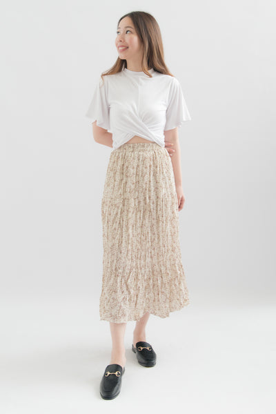 Ariyah Floral Pleats Midi Skirt (White)
