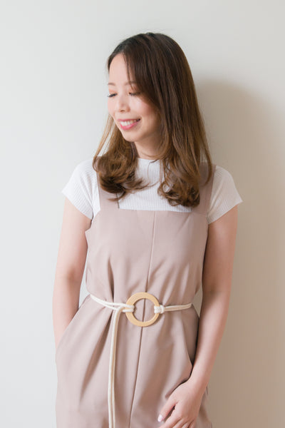 Kinsley Jumpsuit With Rope Belt (Beige)