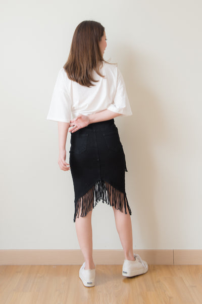Zolia Fringe Tassel Denim Skirt (Black)