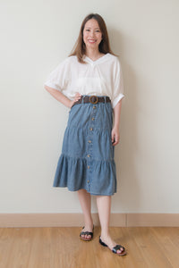 Marcella Denim Skirt With Straw Belt (Navy Blue)