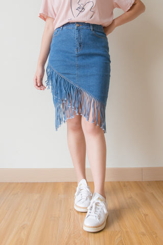 Zolia Fringe Tassel Denim Skirt (Navy Blue)