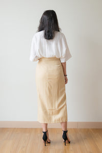 Viviana Side Ribbon Tie Long Skirt (Yellow)