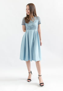 Janine Lace A-line Dress (Blue)