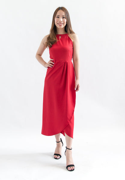 Viola Halter Midi Dress (Fuschia)