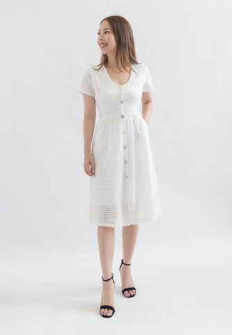 Aviva Eyelet Button Down Dress (White)