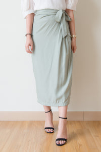Viviana Side Ribbon Tie Long Skirt (Green)