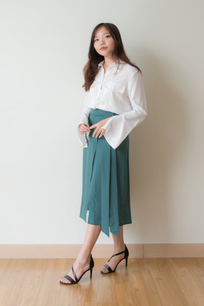 Laurel Front Slit Pencil Skirt (Teal)