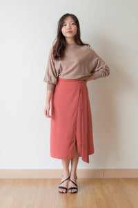 Laurel Front Slit Pencil Skirt (Blood Orange)