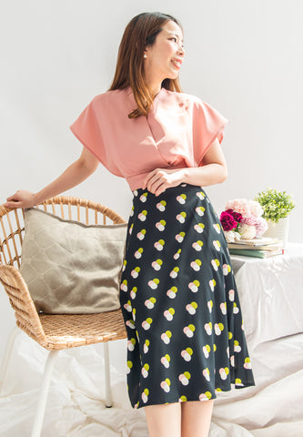 Bedisa Polka Print Circle Skirt (Navy)