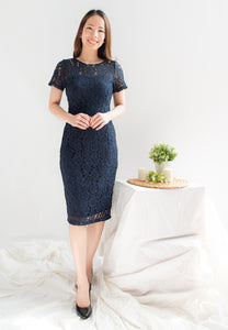 Destiny Lace Overlay Sheath Dress (Navy)