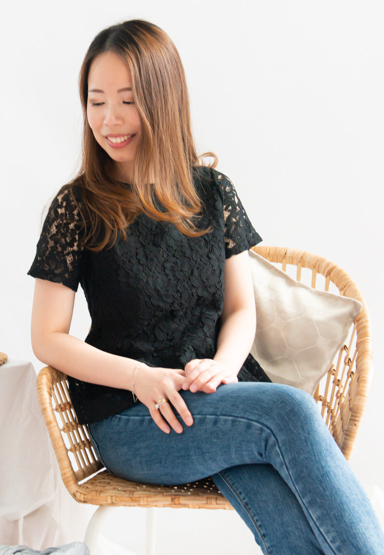 Amity Lace Overlay Short Sleeves Top (Black)