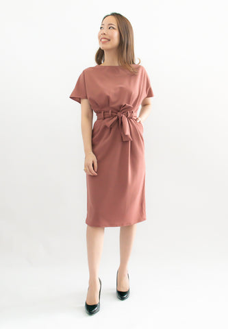 Simmone Sheath Dress With Sash (Pink)