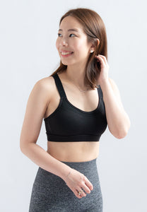 Dansby Adjustable Straps Sports Bra (Black)
