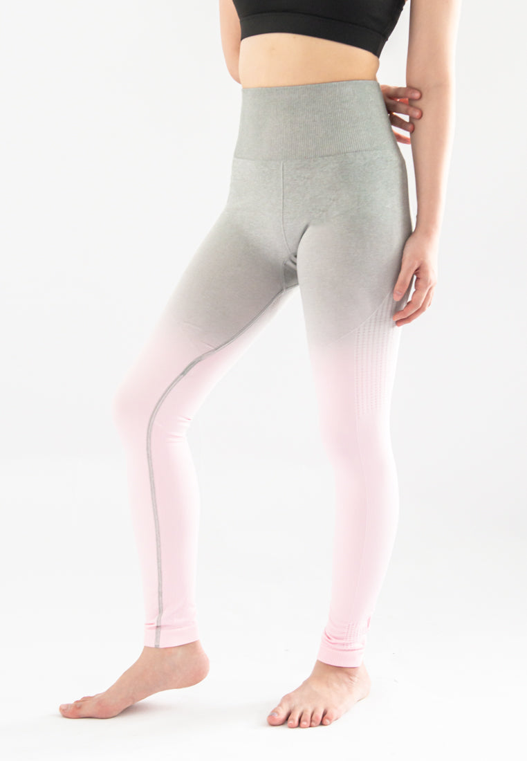 Kinsler Ombre Sports Legging (Light Grey to Light Pink)