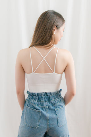[BACKORDER] Meyrick Criss-cross Long Bralette (White)