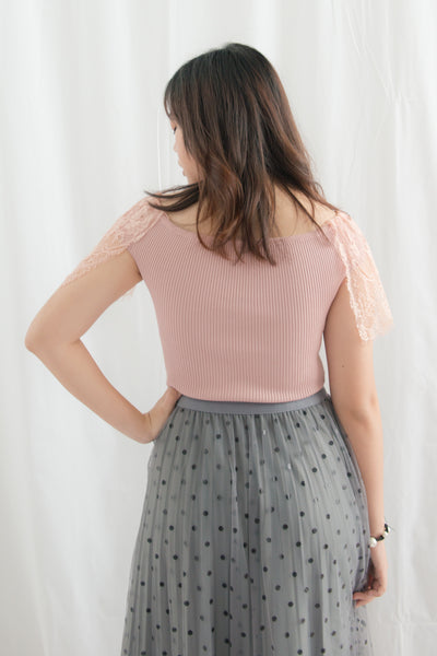 Celestia Off Shoulder Top with Lace Sleeves (Pink)