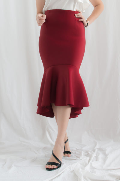 Hestia Fishtail Bodycon Skirt (Red)