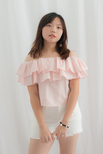 Dahlia Gingham Off Shoulder Top (Pink)