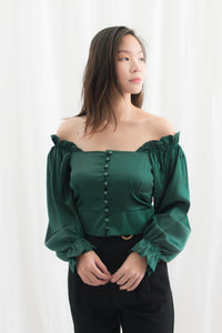 Taisie Satin Square Neck Button Down Long Sleeve Top (Green)