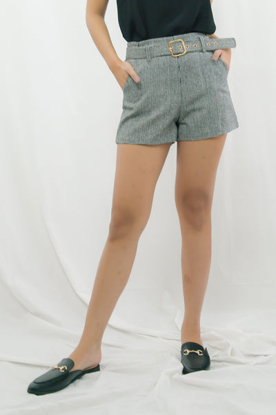 Devin Herringbone Belted Shorts (Black)