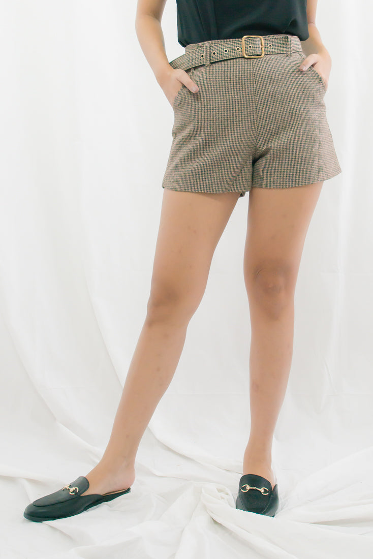 Devin Herringbone Belted Shorts (Brown)
