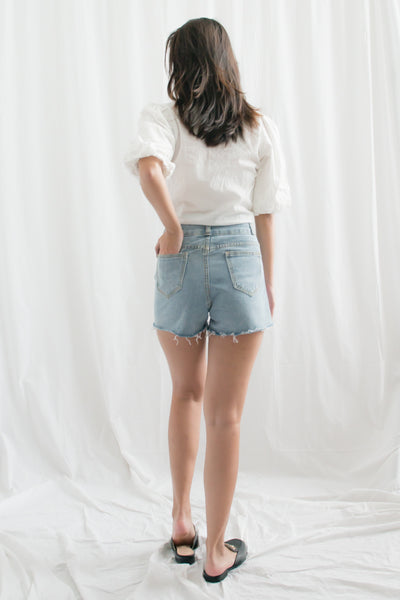Noah High Waisted Denim Shorts (Navy Blue)