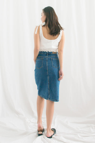Avril Patchwork Denim Skirt (Navy Blue)