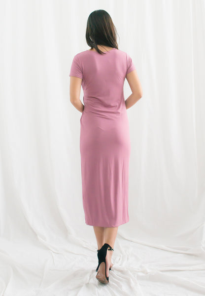 Maliyah Stretchable Overlap Midi Dress (Pink)