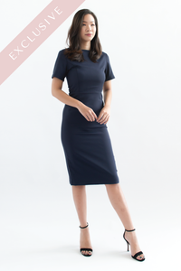 Payton Short Sleeve Sheath Dress (Navy Blue)